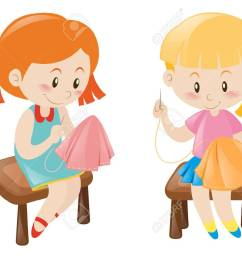 two girl sewing handkerchief illustration stock vector 64321818 [ 1300 x 1004 Pixel ]