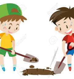 two boys digging hole with shovels illustration stock vector 64024247 [ 1300 x 924 Pixel ]