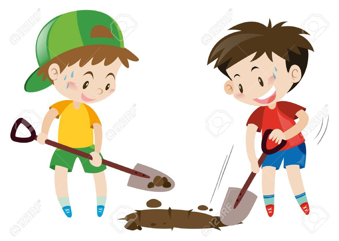 hight resolution of two boys digging hole with shovels illustration stock vector 64024247