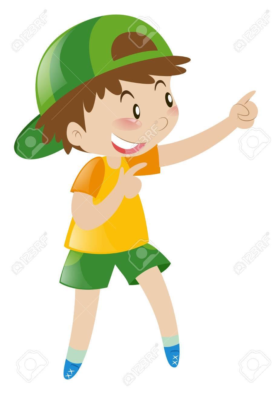 medium resolution of little boy pointing finger at something illustration stock vector 66895055