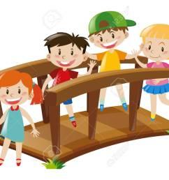 four kids crossing wooden bridge illustration stock vector 66895129 [ 1300 x 978 Pixel ]