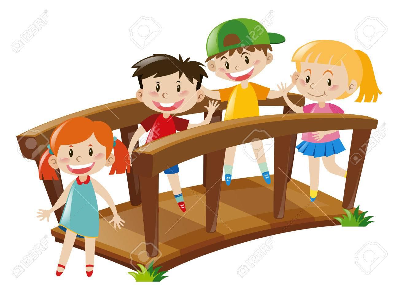 hight resolution of four kids crossing wooden bridge illustration stock vector 66895129