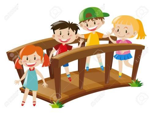 small resolution of four kids crossing wooden bridge illustration stock vector 66895129