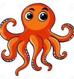 orange octopus on white background illustration stock vector 81976127 [ 1300 x 1216 Pixel ]