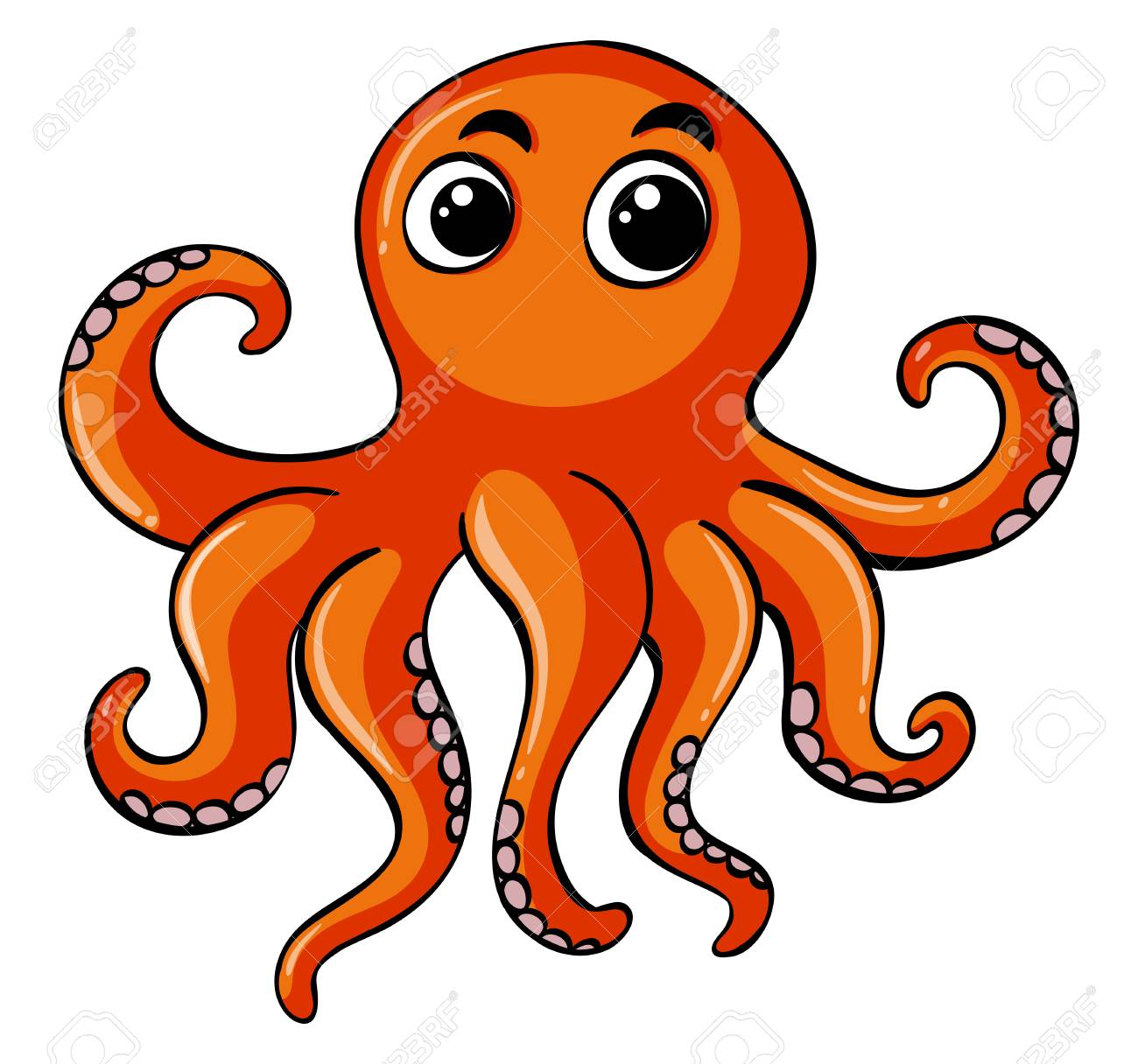 hight resolution of orange octopus on white background illustration stock vector 81976127