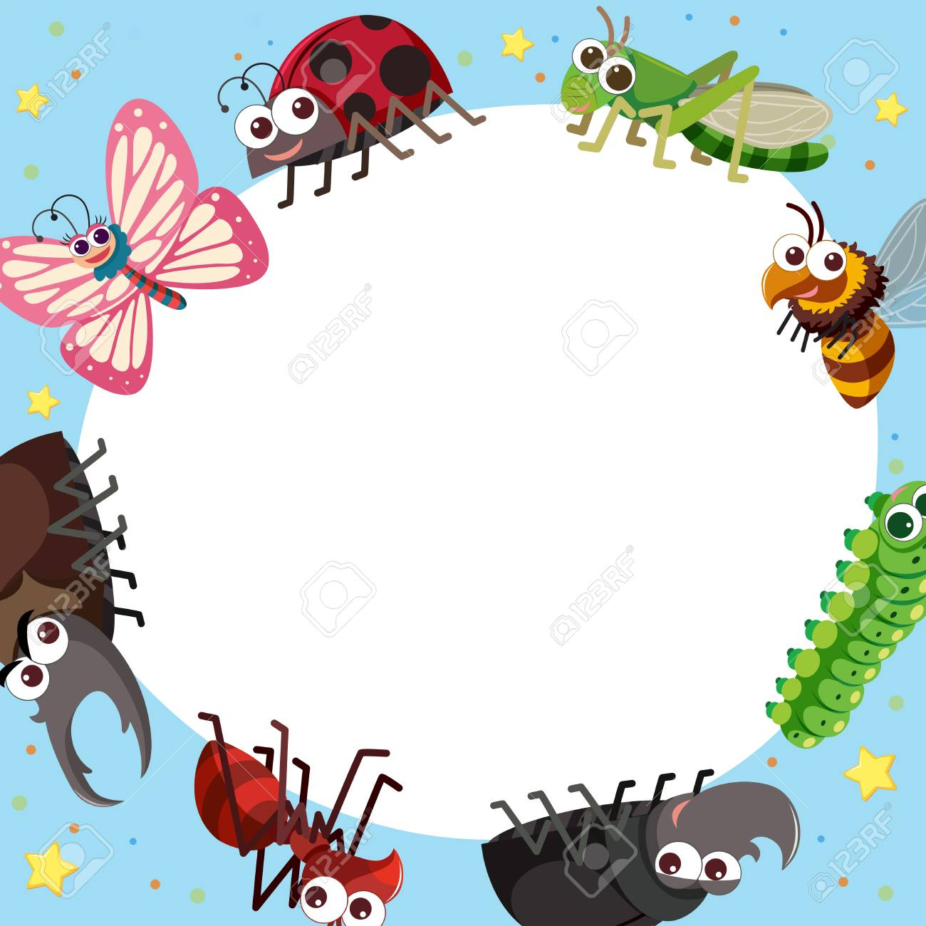hight resolution of border template with different types of bugs illustration stock vector 88900828