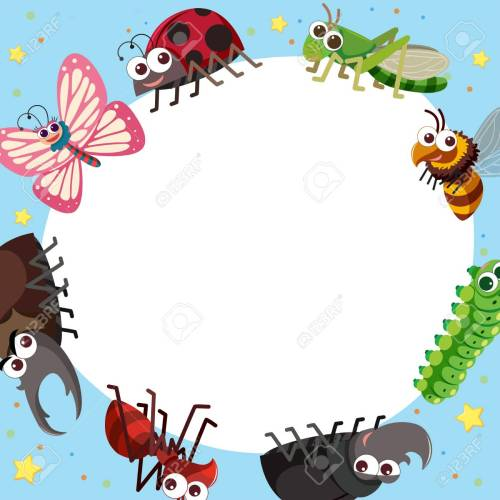 small resolution of border template with different types of bugs illustration stock vector 88900828