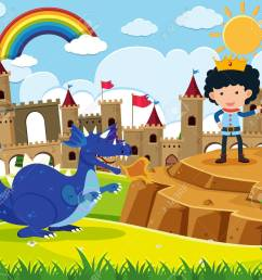 fairy tale scene with prince and blue dragon illustration stock vector 88901680 [ 1300 x 1184 Pixel ]