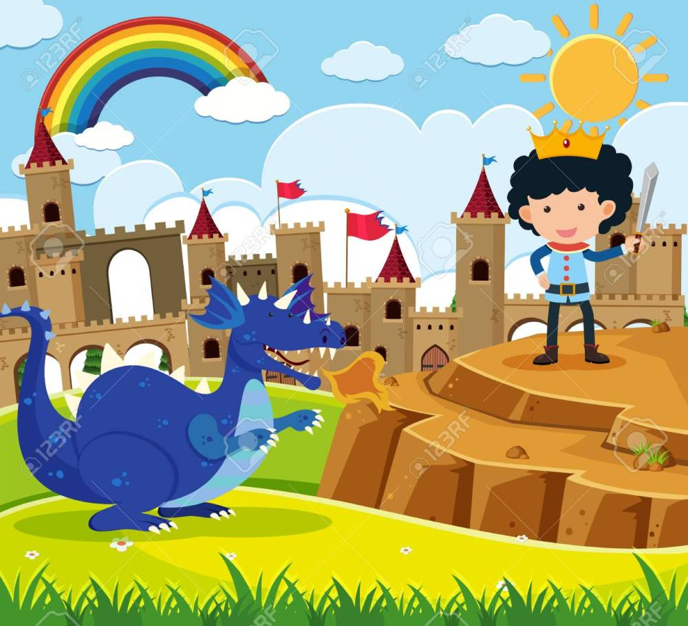 medium resolution of fairy tale scene with prince and blue dragon illustration stock vector 88901680