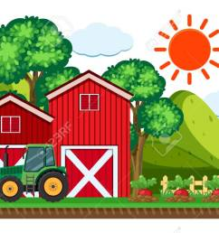 green tractor by the red barn vector illustration stock vector 91332629 [ 1300 x 786 Pixel ]