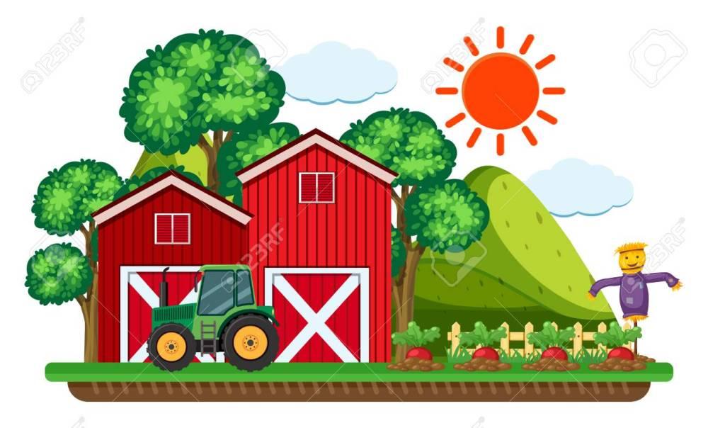 medium resolution of green tractor by the red barn vector illustration stock vector 91332629