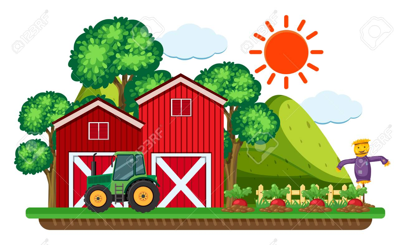 hight resolution of green tractor by the red barn vector illustration stock vector 91332629