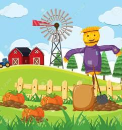farm scene with pumpkin patch vector illustration stock vector 91332662 [ 1300 x 1300 Pixel ]