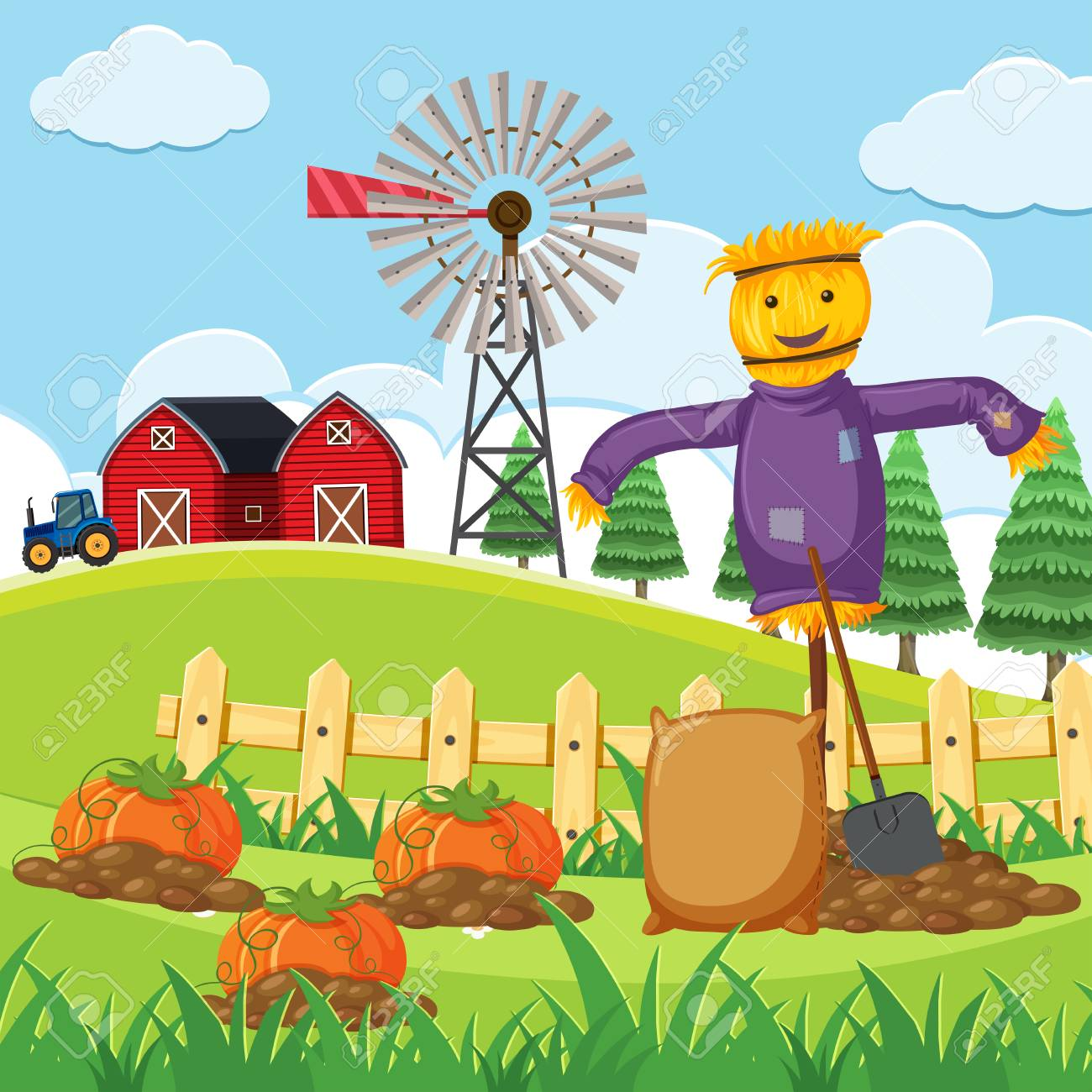 hight resolution of farm scene with pumpkin patch vector illustration stock vector 91332662