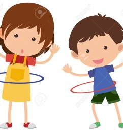 two kids playing hula hoop vector illustration stock vector 91332676 [ 1300 x 1107 Pixel ]