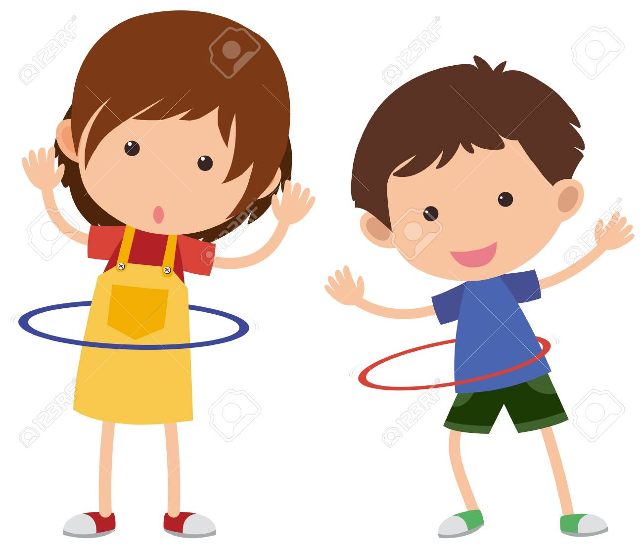 hight resolution of two kids playing hula hoop vector illustration stock vector 91332676