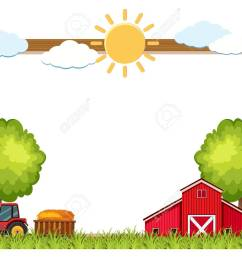 vector wooden frame with farm in background illustration [ 1300 x 1045 Pixel ]