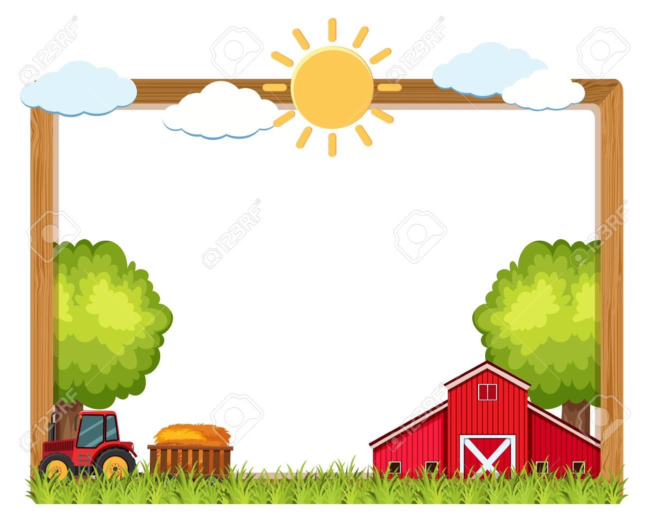 hight resolution of vector wooden frame with farm in background illustration