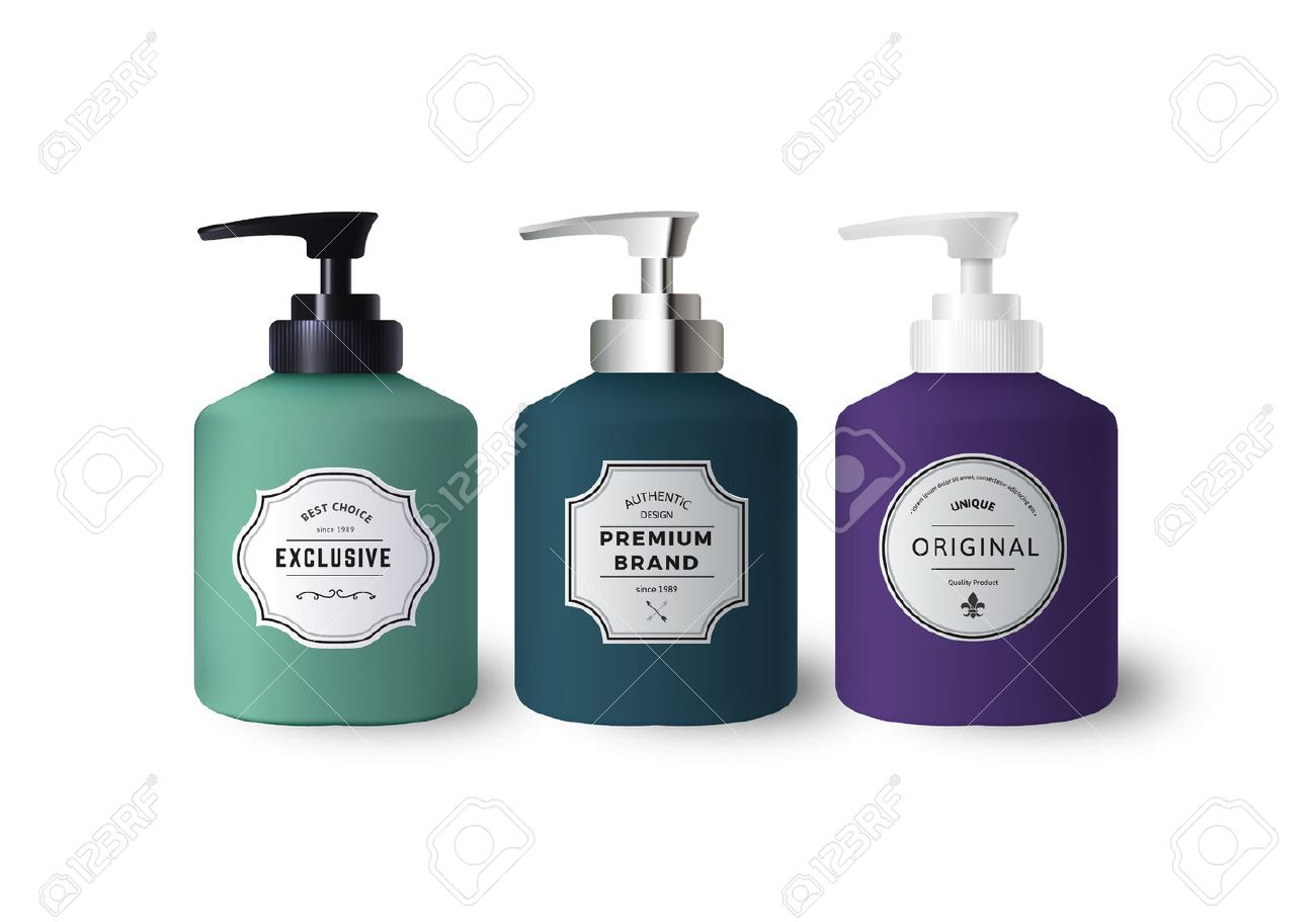 realistic colorful liquid soap