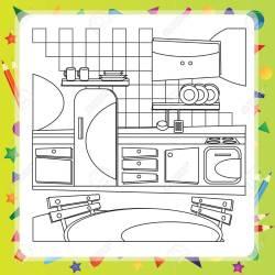 Libro Para Colorear Con Caricaturas De Cocina Ilustración Vectorial Ilustraciones Vectoriales Clip Art Vectorizado Libre De Derechos Image 50237111