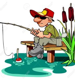 cartoon fisherman with a fishing pole sitting on the dais [ 1300 x 1300 Pixel ]