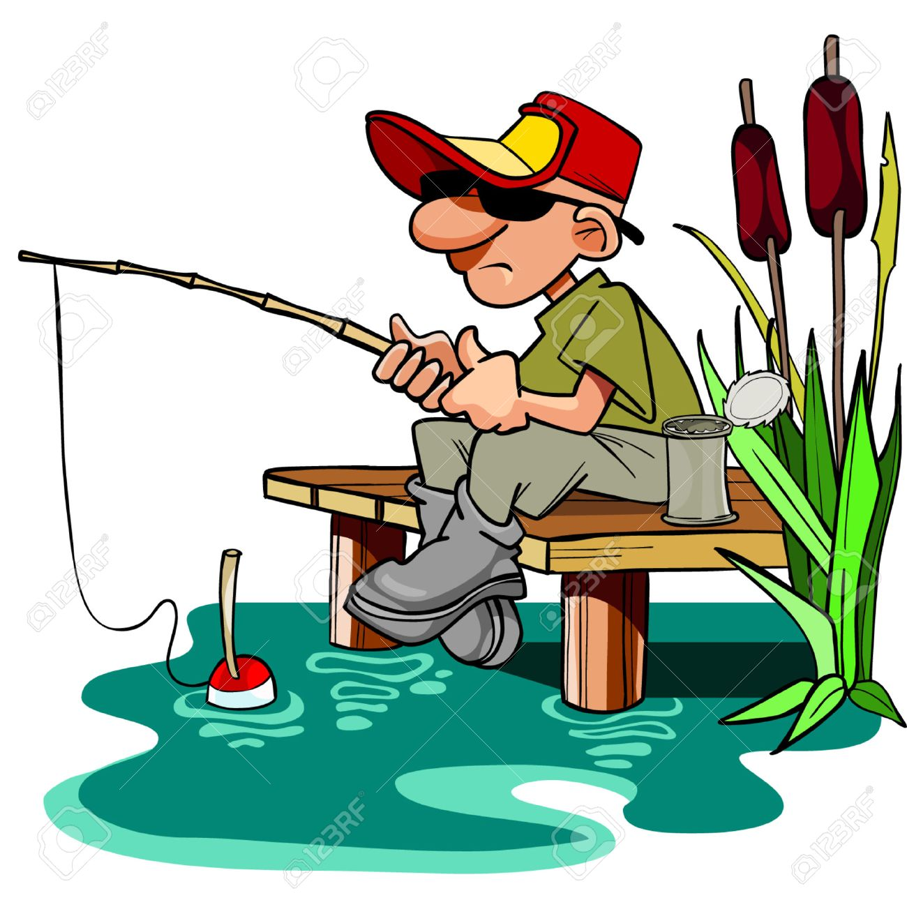 hight resolution of cartoon fisherman with a fishing pole sitting on the dais