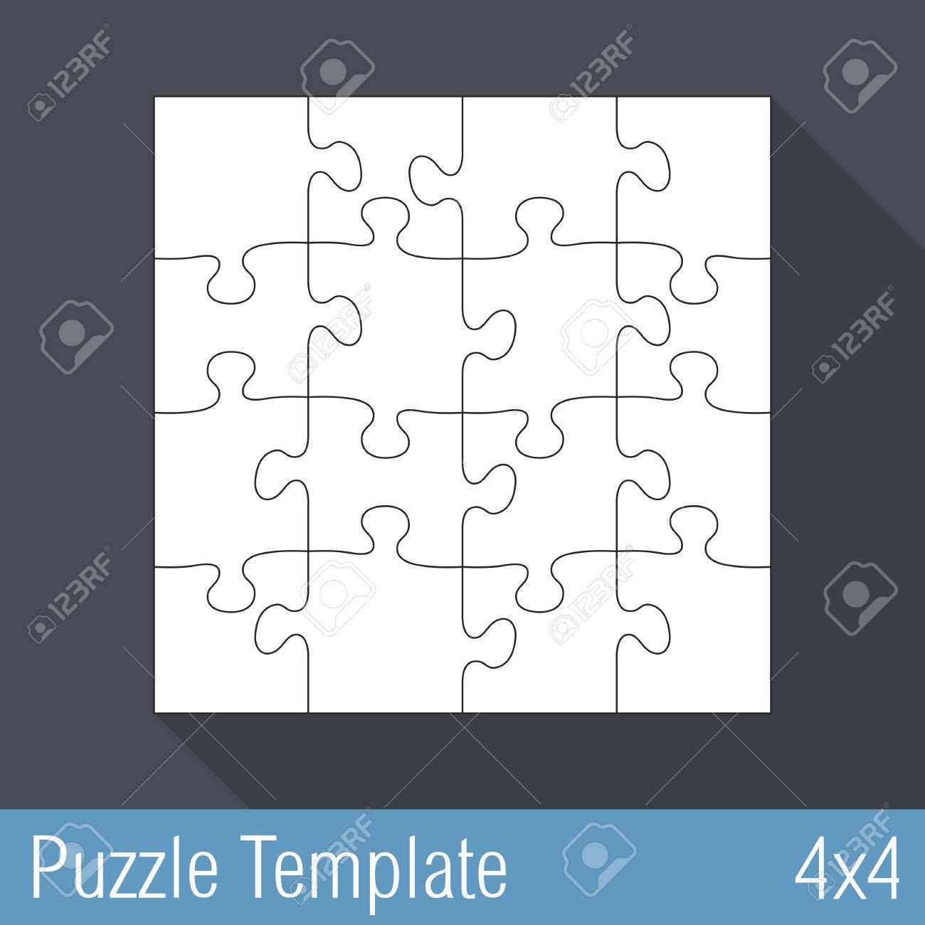 Jigsaw Puzzle Template 16 Pieces 4X4 Stock Vector 28031083