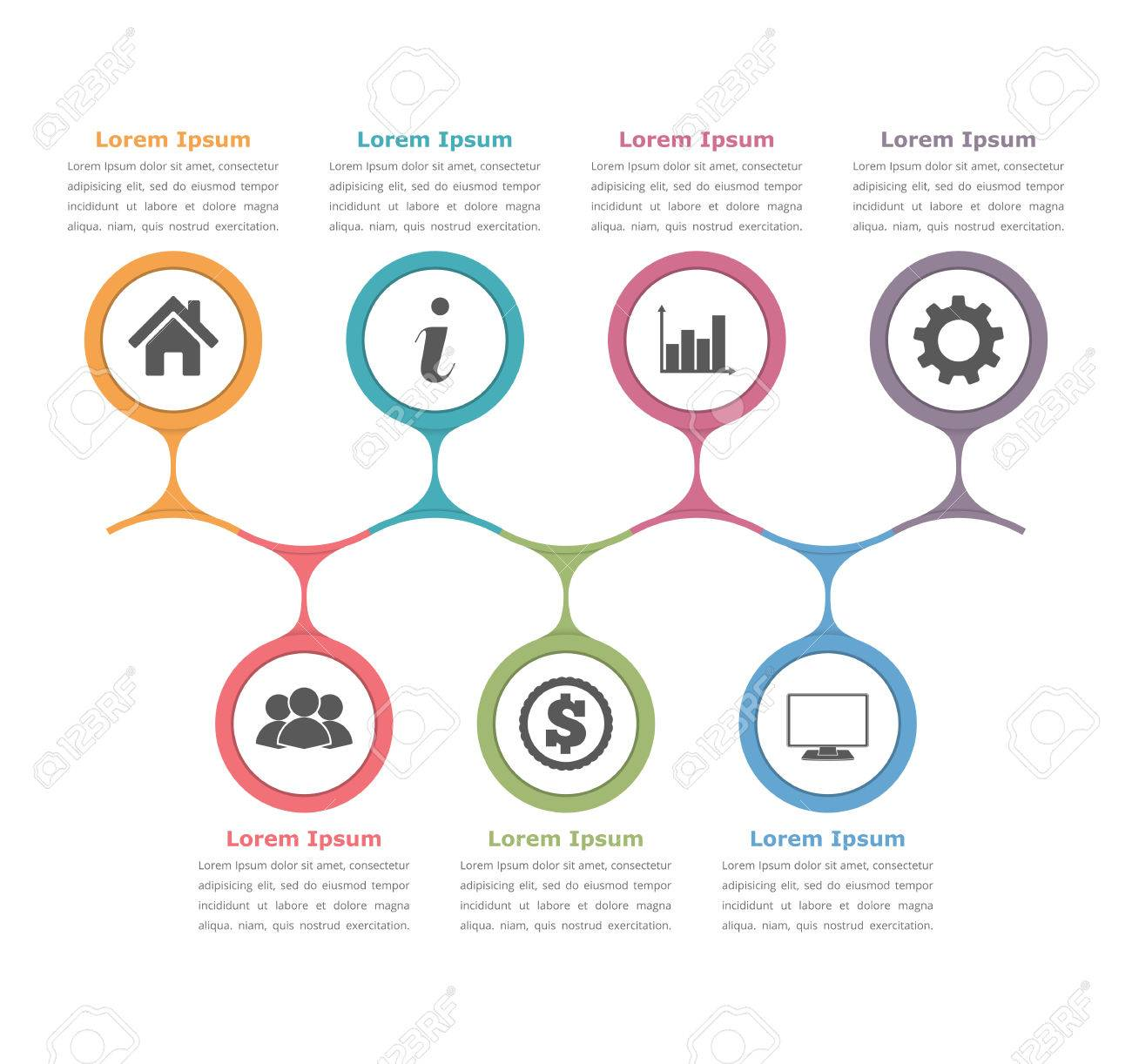 hight resolution of flow chart template with icons and text process diagram business infographics stock vector