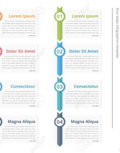 Vertical process chart flow template infographics design elements with numbers and text also rh rf