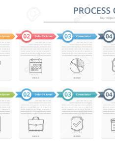Process chart flow template infographics design elements with numbers and text also rh rf