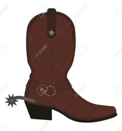 vector wild west leather cowboy boot with spur and star color vector clip art illustration isolated on white [ 1300 x 1221 Pixel ]