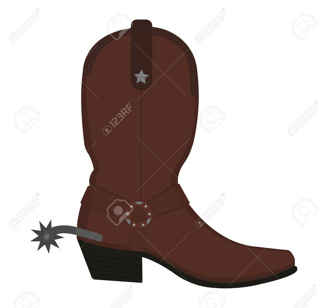hight resolution of vector wild west leather cowboy boot with spur and star color vector clip art illustration isolated on white