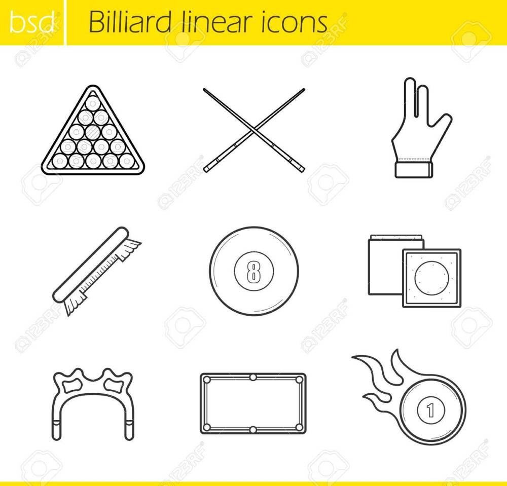 medium resolution of billiard accessories linear icons set cuesports equipment ball rack billiard glove and eight
