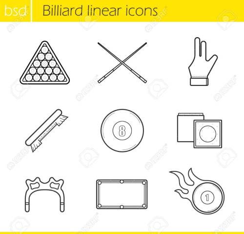 small resolution of billiard accessories linear icons set cuesports equipment ball rack billiard glove and eight