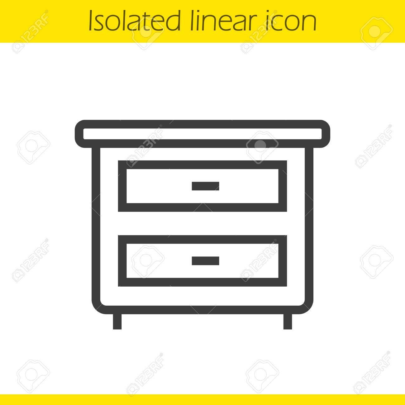 nightstand icone lineaire illustration ligne mince table de nuit avec tiroirs symbole de contour dessin vectoriel contour isole