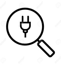 magnifying glass with plug linear icon thin line illustration search contour symbol vector [ 1300 x 1300 Pixel ]