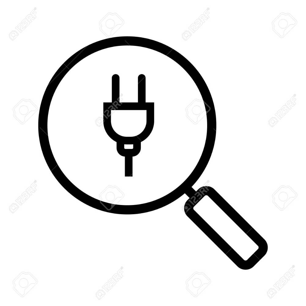 medium resolution of magnifying glass with plug linear icon thin line illustration search contour symbol vector