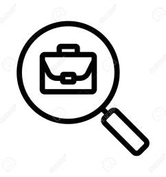 job search linear icon thin line illustration magnifying glass with briefcase contour symbol  [ 1300 x 1300 Pixel ]