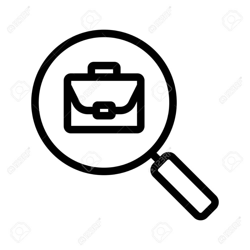medium resolution of job search linear icon thin line illustration magnifying glass with briefcase contour symbol