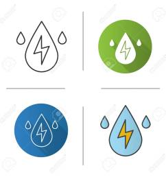 vector water energy icon flat design linear and color styles water drops with lightning inside hydro power plant isolated vector illustrations [ 1300 x 1300 Pixel ]