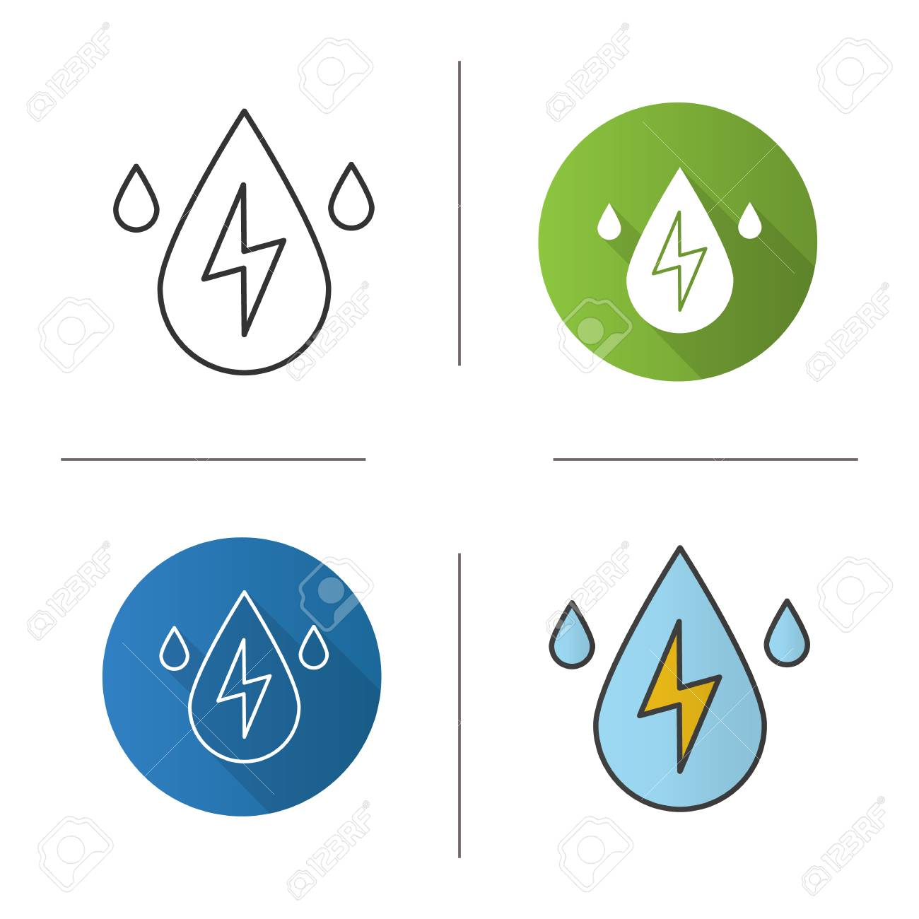 hight resolution of vector water energy icon flat design linear and color styles water drops with lightning inside hydro power plant isolated vector illustrations