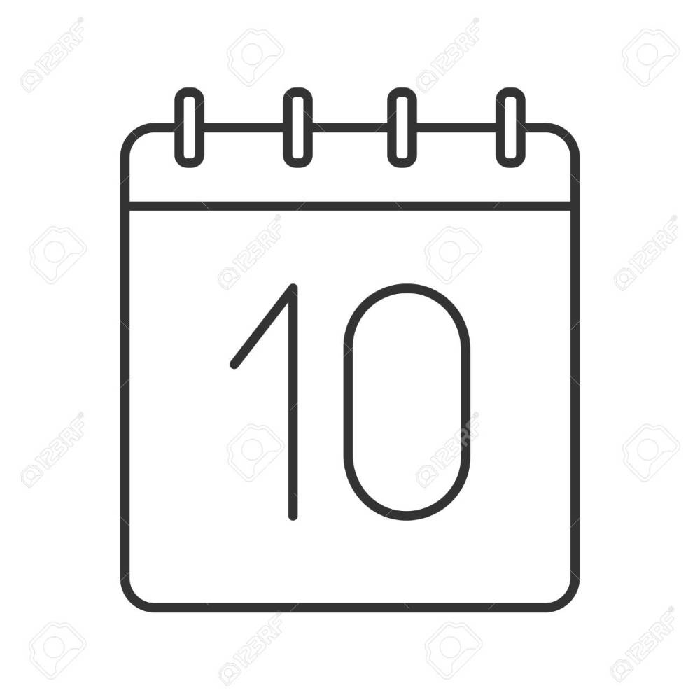 medium resolution of tenth day of month linear icon wall calendar with 10 sign thin line illustration