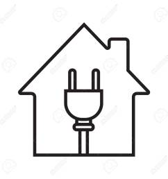house with wire plug linear icon stock vector 88721264 [ 1300 x 1300 Pixel ]