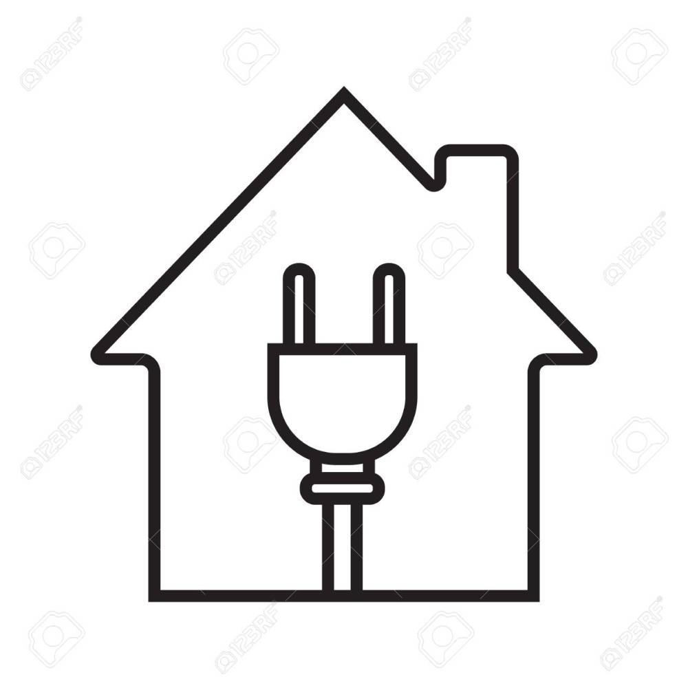medium resolution of house with wire plug linear icon stock vector 88721264