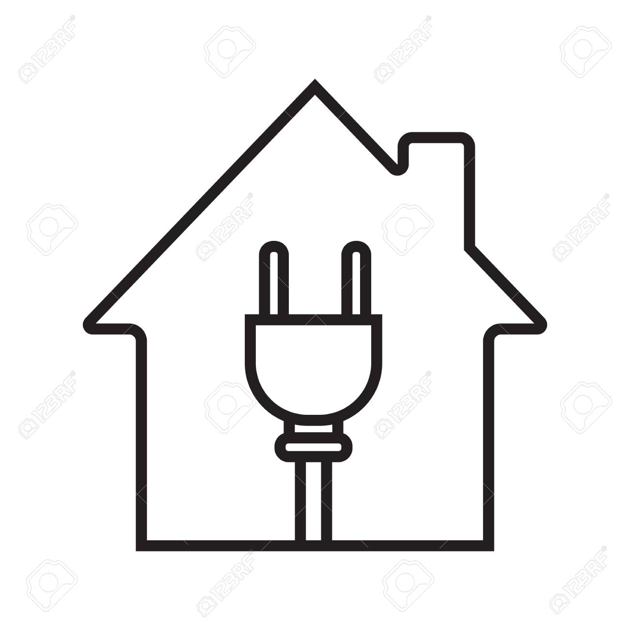 hight resolution of house with wire plug linear icon stock vector 88721264