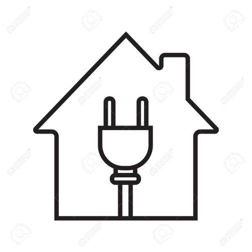 small resolution of house with wire plug linear icon stock vector 88721264