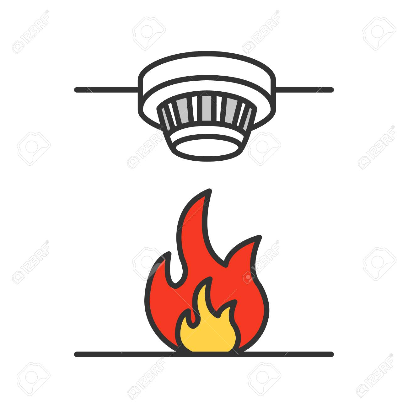hight resolution of smoke detector color icon fire alarm system isolated vector illustration stock vector 99918289