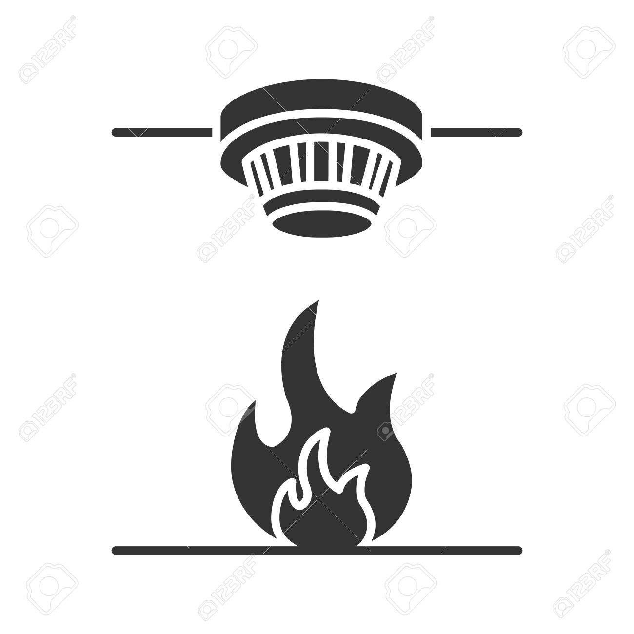 hight resolution of smoke detector glyph icon fire alarm system silhouette symbol negative space vector