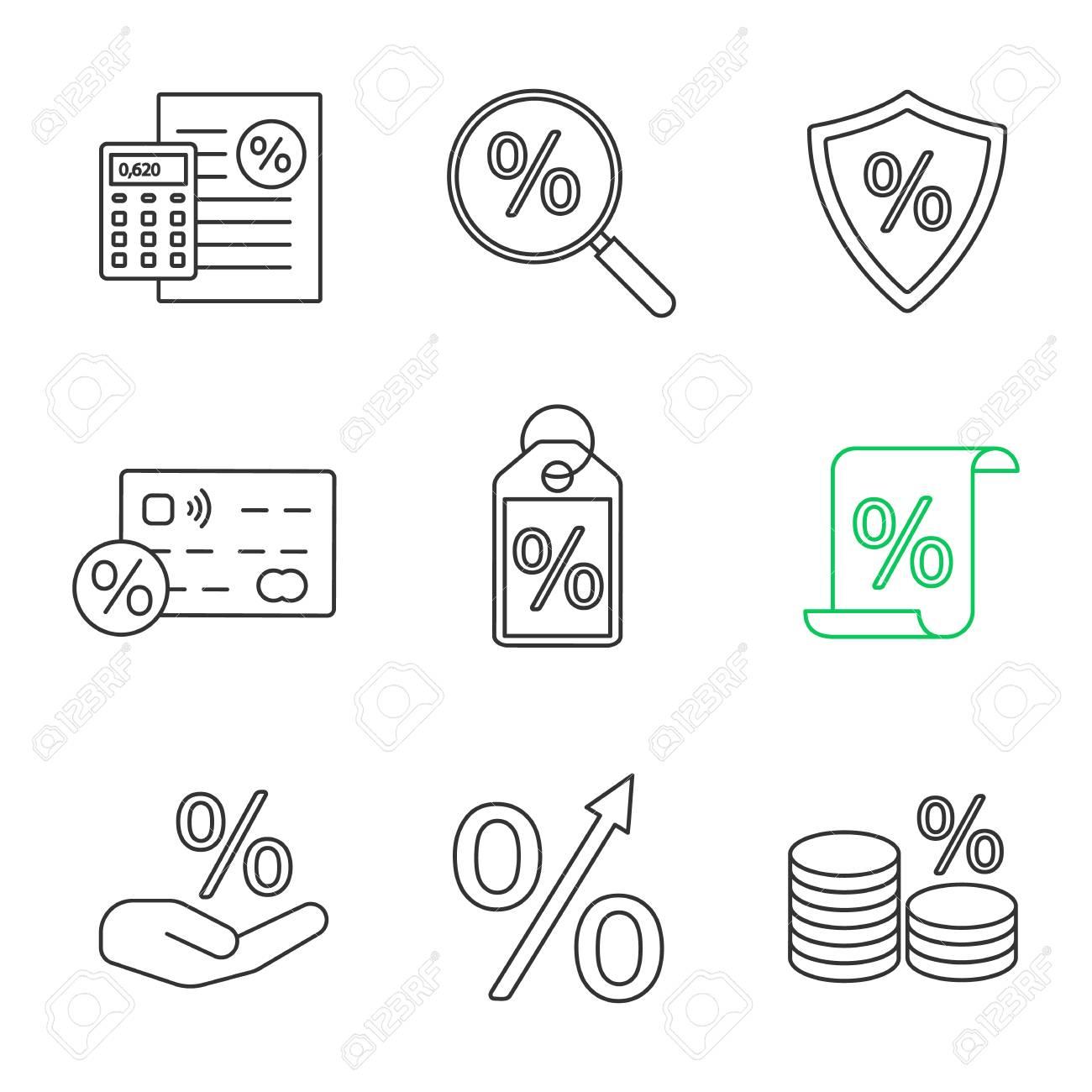 percents linear icons set