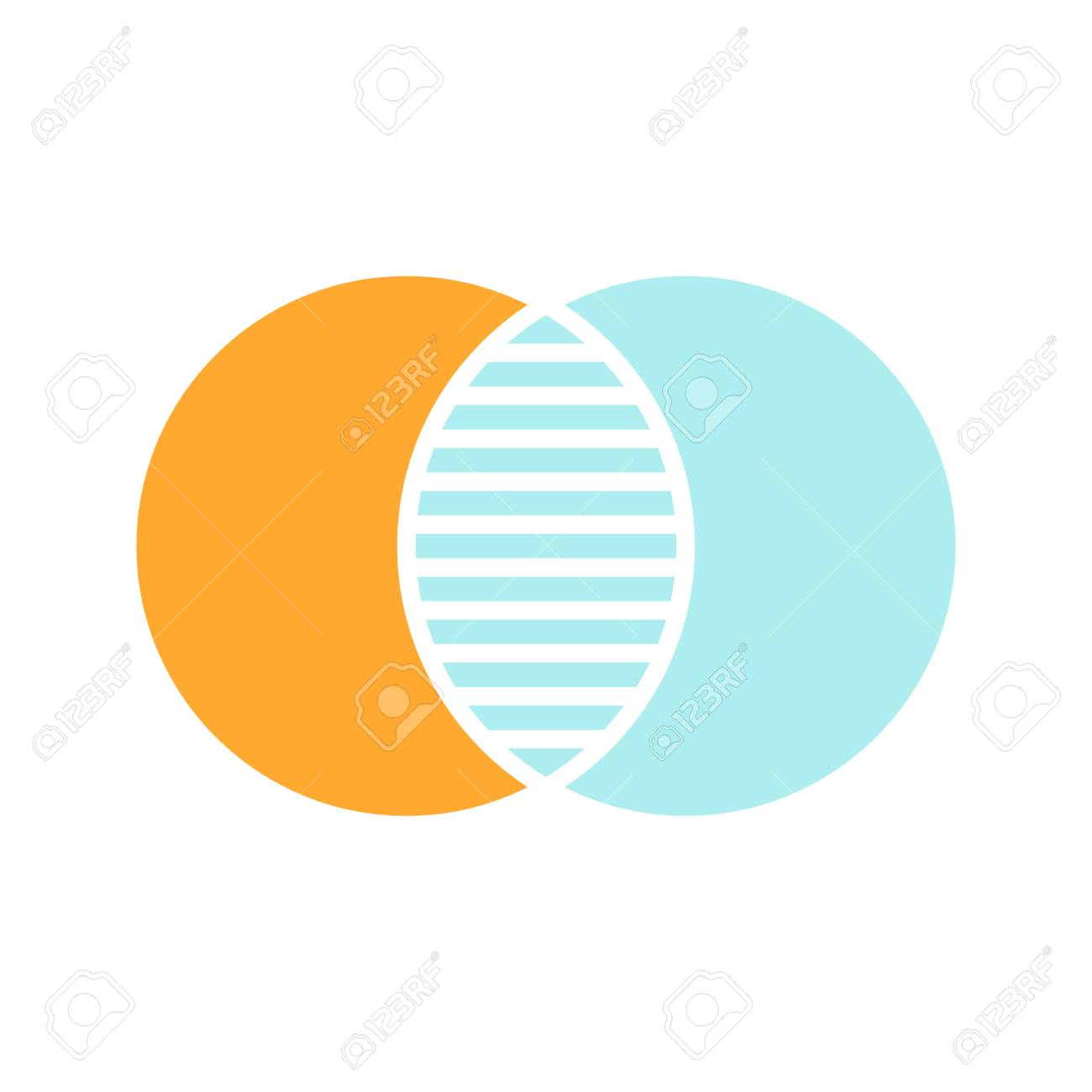 hight resolution of discrete maths glyph color icon overlapping circles intersection venn diagram silhouette symbol